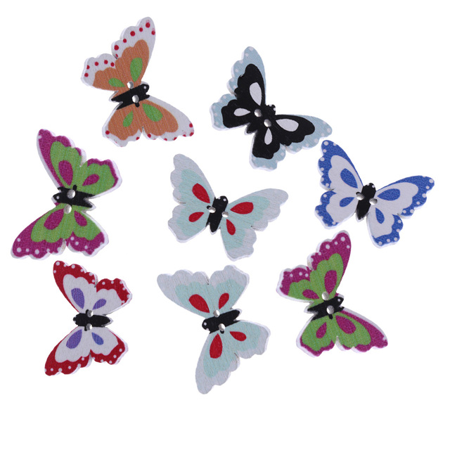 50 pcs wooden buttons butterfly shape mixed color 2 holes round sewing scrapbook diy colorful - Butterflies To Color 2