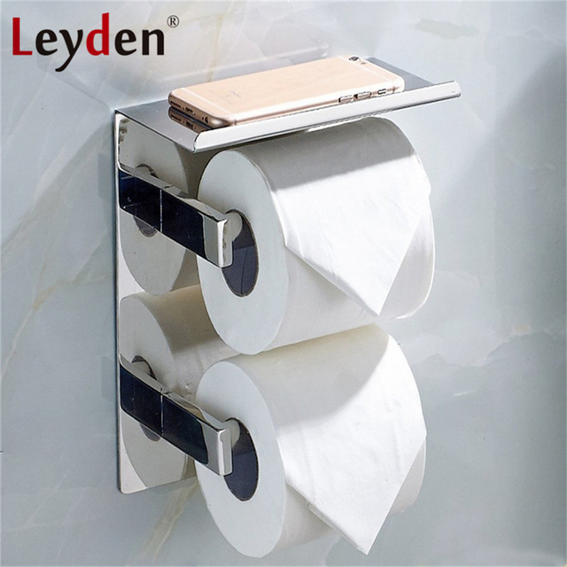 Leyden Double Toilet Paper Holder With Mobile Phone Storage Shelf Stainless Steel Polished Chrome Wall Mount