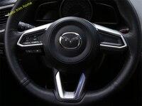 Lapetus ABS Matte / Carbon Fiber Style Steering Wheel Decoration Molding Garnish Cover Trim 1 Pcs For Mazda 3 Axela 2017 2018
