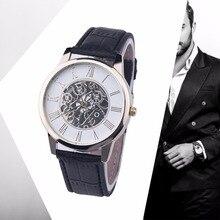 New Fashion Quality Brand Watch 2016 Male Men Digital Rome Digital Leather Band Analog Dial Quartz Wrist Watch Black