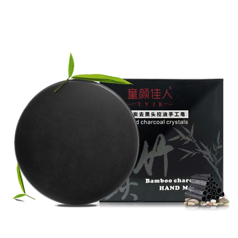 1pcs Handmade Bamboo Charcoal Soap Black Soap Makeup Maquiagem Remove Blackhead Deep Clean Moisturizing Oil Control