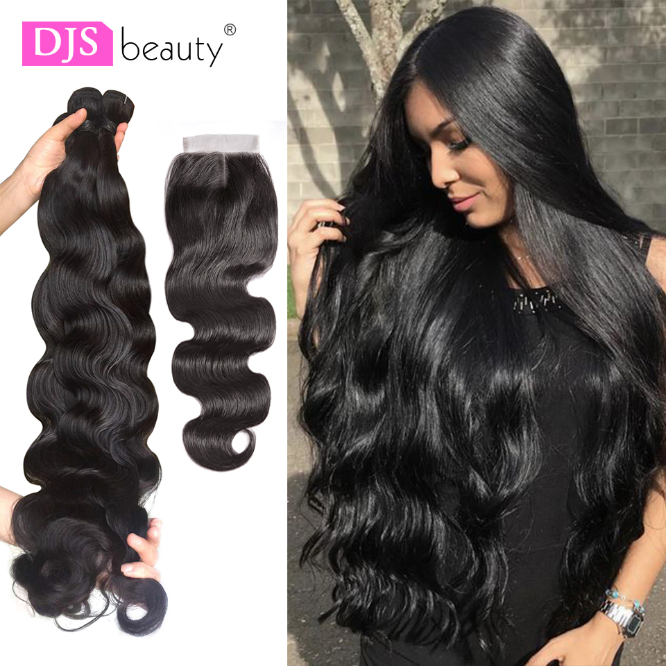 DJS Beauty 28 Inch Bundles Body Wave Brazilian Hair Weave Bundles 3/4 PCS Human Hair Bundles With Closure(China)
