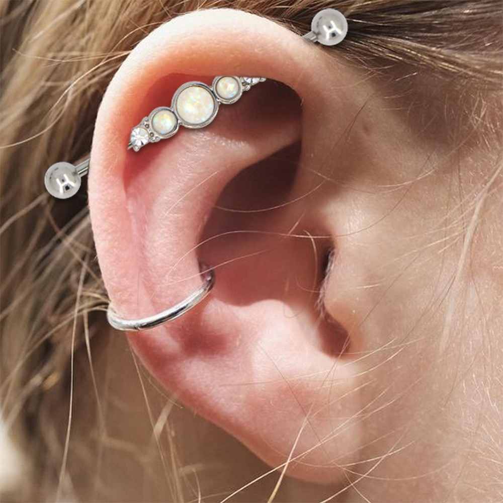 Body Punk New White Opal Industrial Piercing Barbell Clear CZ Cartilage Earring Long Straight Screw Helix Ear Body Jewelry Women in Body Jewelry from Jewelry Accessories