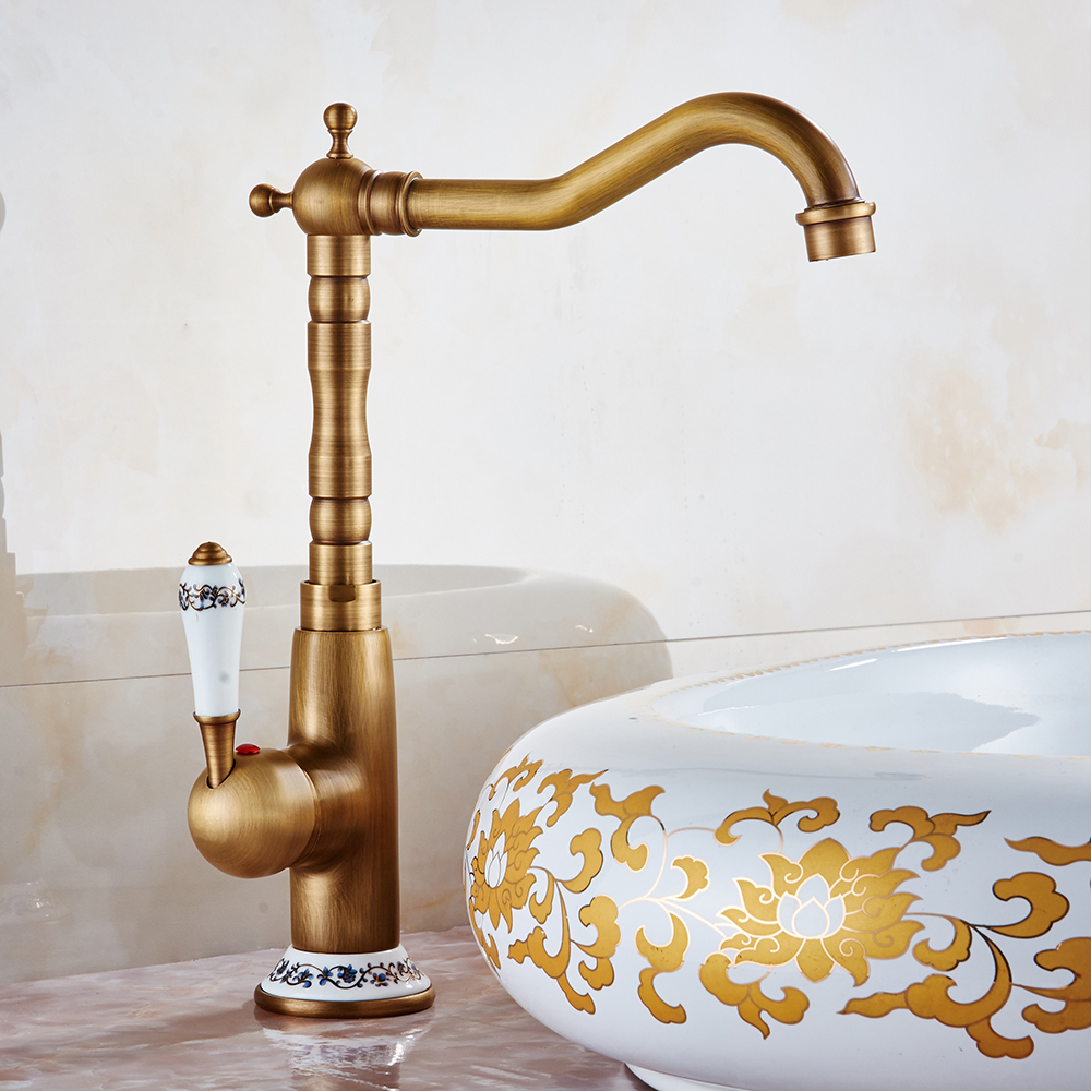 ФОТО Free Shipping Solid Brass Bathroom Sink Basin Faucet Antique Brass Ceramics Handle Retro Style Mixer Tap Deck Mounted SKQ-1504