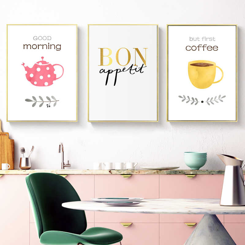 Modern Abstract Posters And Prints Wall Art Canvas Painting Greetings Words Pictures For Kitchen Decoration Frameless Calligraphy Aliexpress