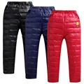 New Arrival  Winter Boys' Girls' Fashion Thicken PU Genuine Kids Down pants  boys cotton down trousers