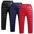 Nueva Llegada del Invierno de Los Muchachos de Las Niñas Moda Espesar PU Genuino Niños Bajó los pantalones niños pantalones de algodón hacia abajo