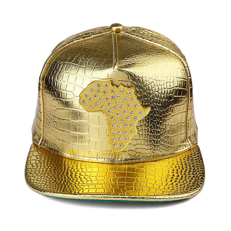 New style PU Leather Map of African Baseball caps men wome Diamond Gold  snapback hat Crocodile Grain DJ hip hop hats 0b743962448