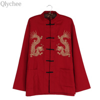 Qlychee Dragon Embroidery Button Tops Women Men Long Sleeve Autumn Chinese Style Cotton Casual T Shirts