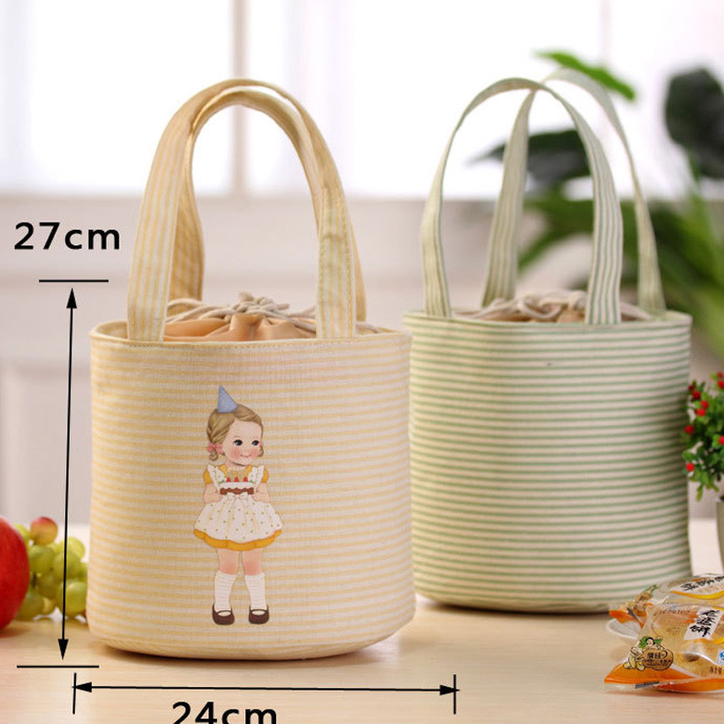 Hot Selling Thermal Insulated Box Tote Cooler Bag Bento Pouch Lunch Storage Case Linen Cotton Newest Portable Lunch Bag