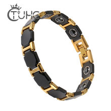 Men Gold Bracelet for Women Men Bangle Watch Band Design Stainless Steel Net Band Magnetic Bio Bracelet Male Jewelry Never Fade(China)