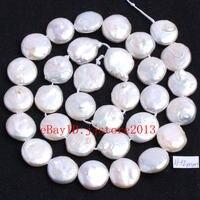 11-12mm Natural Branco Pérola de Água Doce Forma Coin Gems Solta Pérolas Strand 15