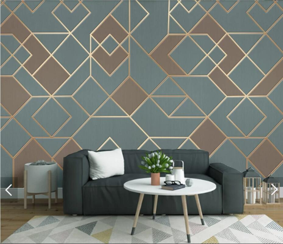 3D Abstract Geometric Blue Wall Papers For Walls 3 D Mural
