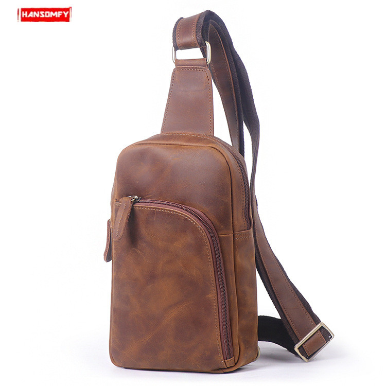2019 New Genuine Leather men chest bag male retro crazy horse leather casual shoulder Messenger bag large capacity crossbody bag2019 New Genuine Leather men chest bag male retro crazy horse leather casual shoulder Messenger bag large capacity crossbody bag