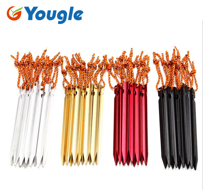 18cm Professional 10 Pcs Aluminument <font><b>Tent</b></font> <font><b>Pegs</b></font> with Rope Stake Camping Hiking Equipment Outdoor Traveling <font><b>Tent</b></font> Accessories image
