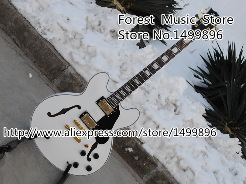 New Arrival White ES China Electric Guitar Double Cutaway Hollow Guitar Body & Kits Left Handed Available wholeslale dave grohl dg335 es 335 6 string electric guitar with great logo es 335 in white 100913
