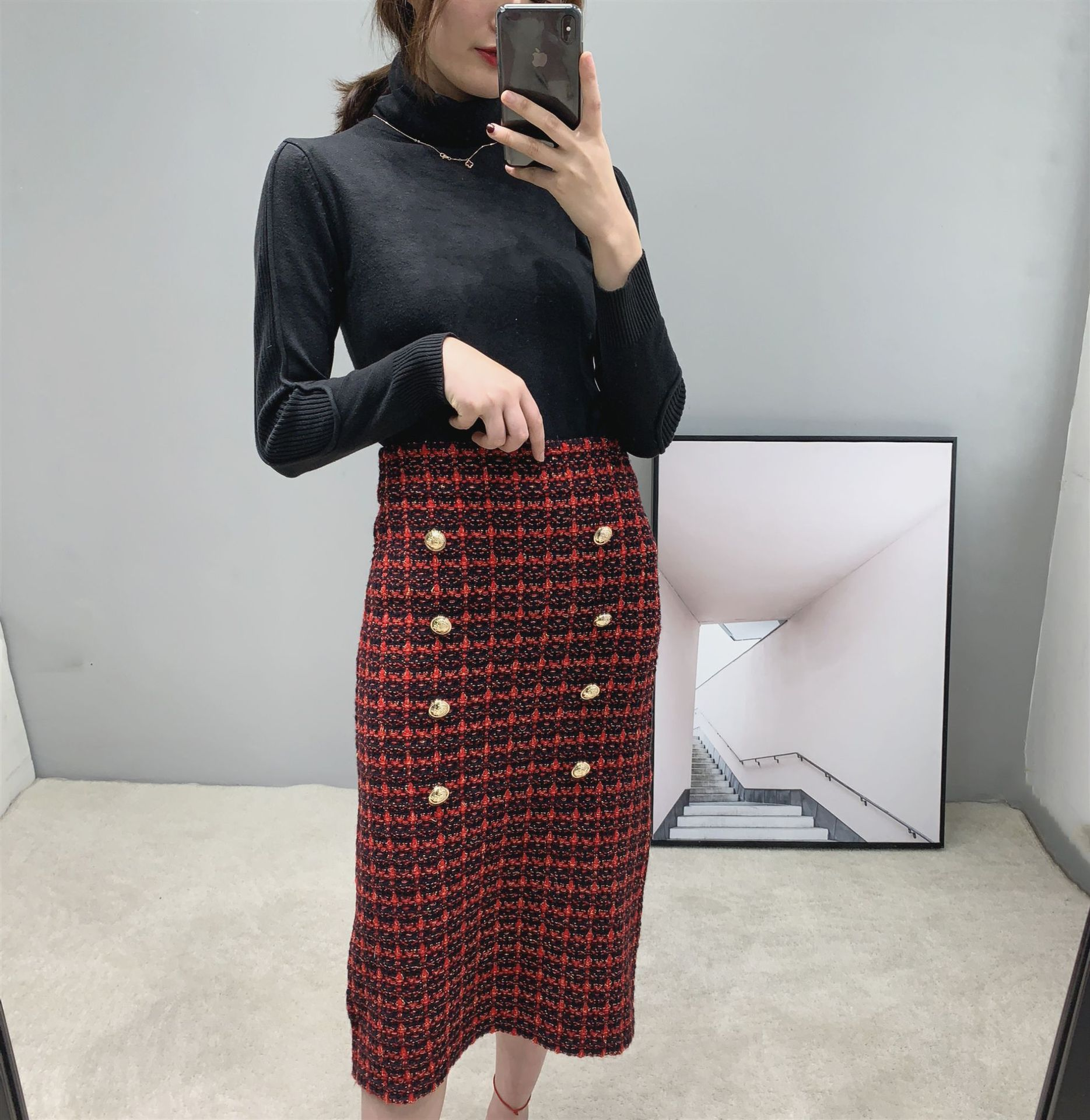 19 Spring autumn New tweed Women's skirt elegant Office Double Breasted plaid knitted Vintage Package Hip midi skirt Female 3