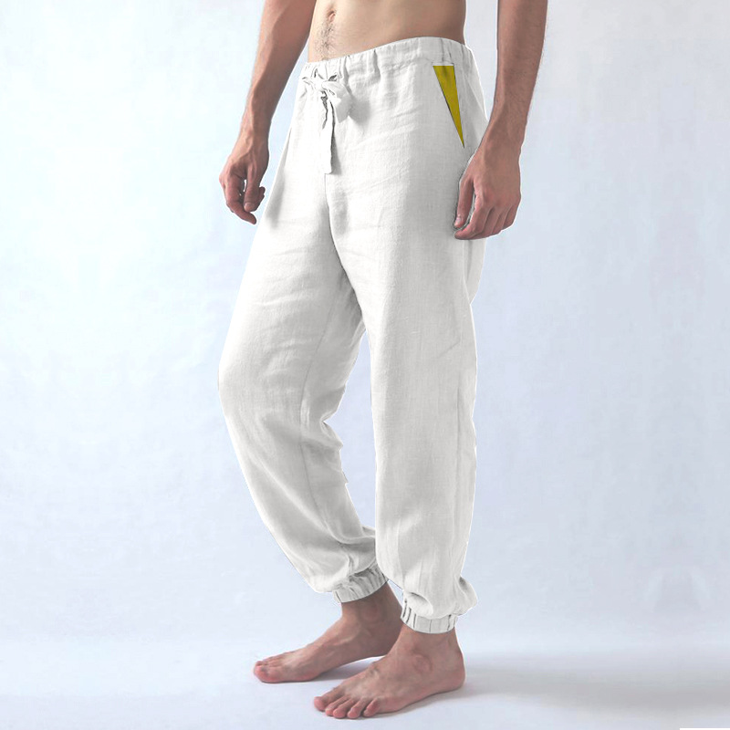 Men's Trousers Loose Comfortable Sports Cotton Casual Long Low-Waist