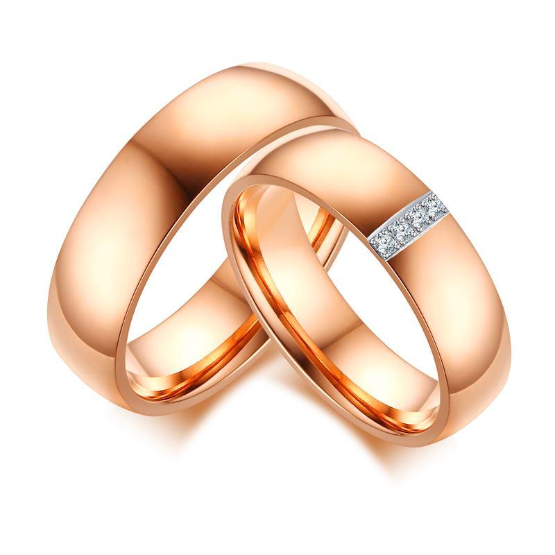 141 15 De Réductionvente Chaude Belle Et Attrayante Couple Alliance Femmes Et Hommes Anneaux De Mariage Promettent Couple Anneaux Or Rose Couleur
