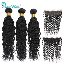 Panse Hair Brazilian Water Wave Hair 3 Bundles With A 13*4 Lace Frontal Non Remy Hair 100% Human Hair Extensions Can Be Dyed(China)
