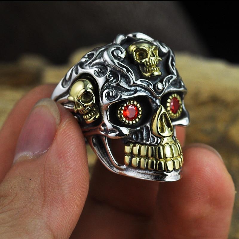 Punk 925 argent crâne anneaux squelette taille réglable Vintage à la mode S925 solide Thai argent anneau pour hommes bijoux - 2