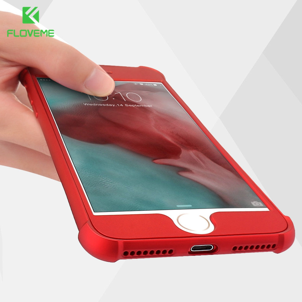 FLOVEME For iPhone 6S 6 Plus Fitted Cases 360 Full Protection Back Cover For iPhone 7 6 6S Shockproof PC Front TPU Case Coque