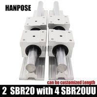 Free shipping 2 pcs linear guide SBR20 L Linear rail shaft support and 4 pcs SBR20UU linear bearing blocks for CNC parts