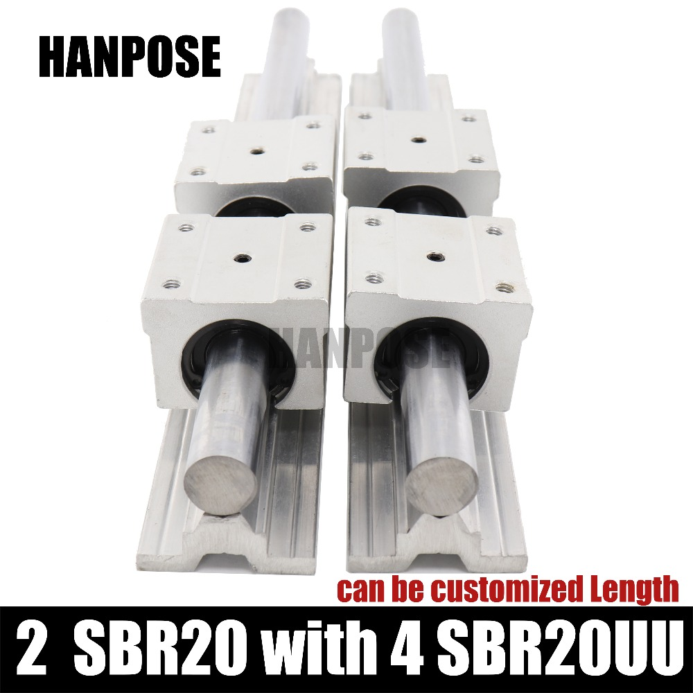 Free shipping 2 pcs linear guide SBR20-L Linear rail shaft support and 4 pcs SBR20UU linear bearing blocks for CNC parts