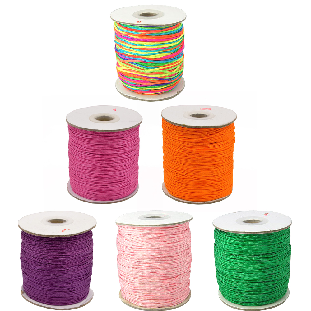 1.5mm 150Yards/Roll Nylon Thread Cord For Bracelet Jewelry Making DIY Accessories Findings Round Black Yellow Red Blue Pink