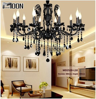 Vintage Black 10 Arms Chandelier Crystal Light Fixture Large American Wrought Iron French Style Chandelier Drop Light MD2520 L10