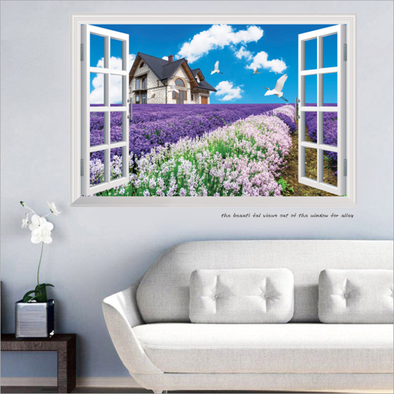 New 60*90cm 3D Wall Stickers Lavender Landscape Wall Decor Living Room  Bathroom 3D Sticker