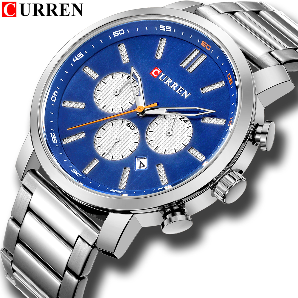 Luxury Brand Military Sport  Mens Watches CURREN Stainless Steel Wristwatch For Man Chronograph Watch Date Male Clock Relogio
