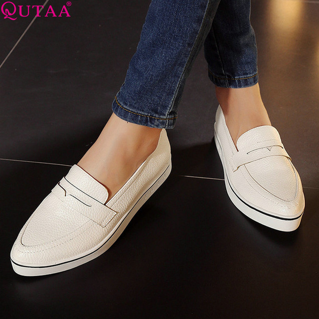 QUTAA 2017 Hot Sale Fashion White Women Shoes Fashion Low Heel Simple Shoes Size 34-40