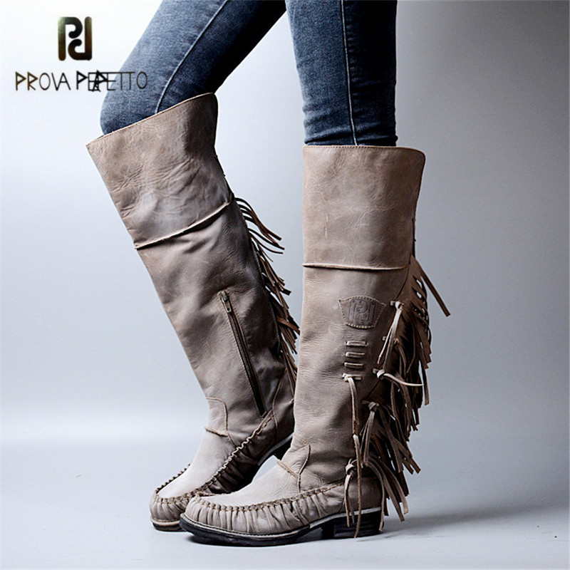 Prova Perfetto 2017 Autumn Winter Genuine Leather Women Knee High Boots Fringed High Boots Retro Patchwork Flat Knight Boot prova perfetto retro black women genuine leather mid calf boots female platform high boots buckle straps side zipper botas mujer