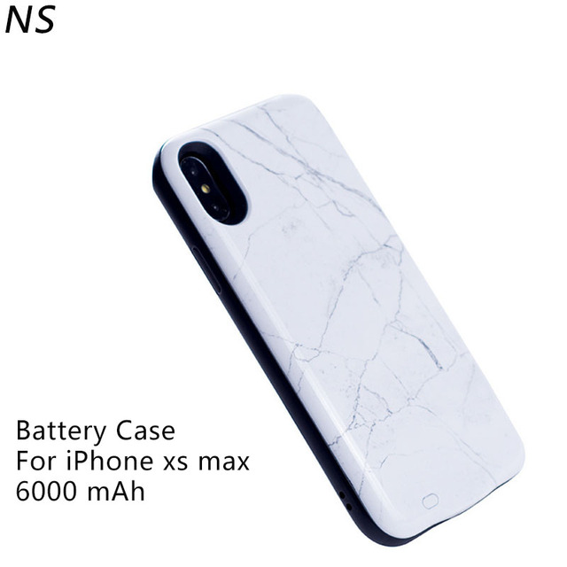 best loved 2a7e3 75bae US $24.63 15% OFF|For iPhone xs max Battery Case 6000mAh Capacity Marble  Portable External Battery Power Bank Charger for iPhone xs max Cover-in ...