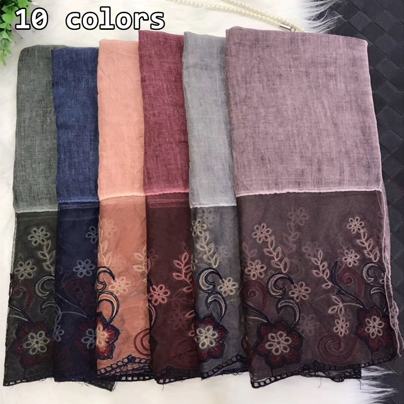2018 10 colors floral lace embroidery border women scarf bandhnu cotton muslim hijab wraps nice headband spring scarves/scarf
