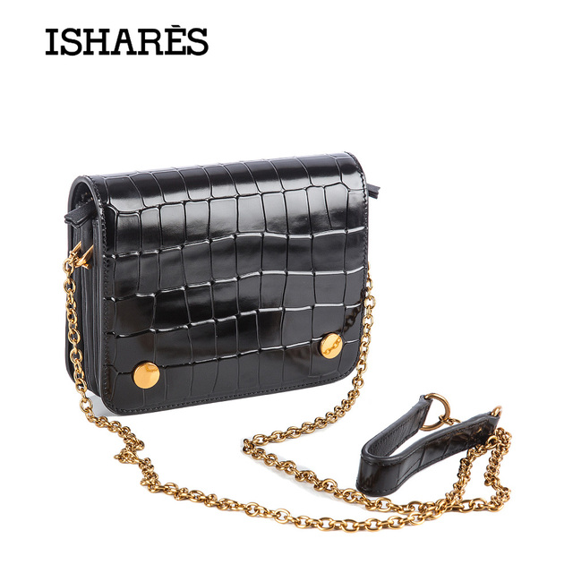 2017 ISHARES New women mini Magnetic buckle chain Messenger bags Alligator Pattern cow leather cover crossbody bags IS7283