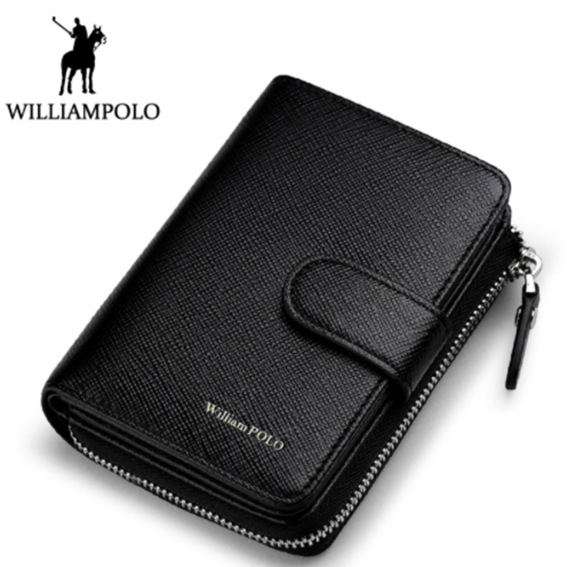 2018 New Men Fashion Genuine Leather Wallet Business Credit Card Holder Wallet Multifunction Zip WilliamPOLO Purse Photo Case williampolo 2017 card wallet men 10 card slots genuine leather button closure fashion long men wallet polo174