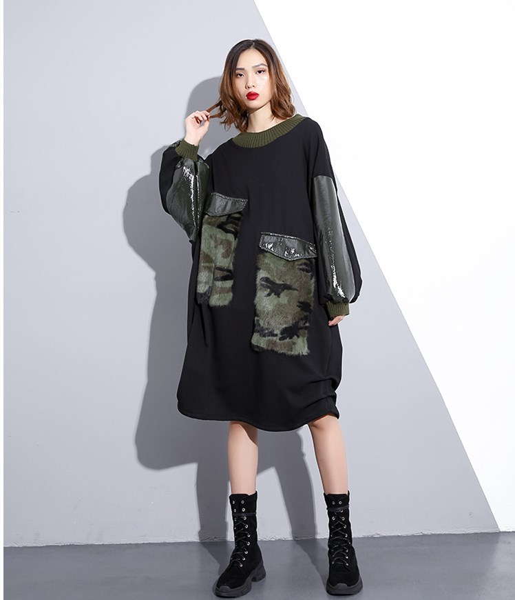 Wang 2788 Femmes Whitney Streetwear Oversize Ww D'hiver Patchwork Robe Noir Casual Pu Mode 2018 Automne Hiver dww6qHSp