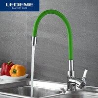 LEDEME Brass Kitchen Faucet Pull Out Single Hole Brass 360 Degree Single Handle Vessel Sink Vintage