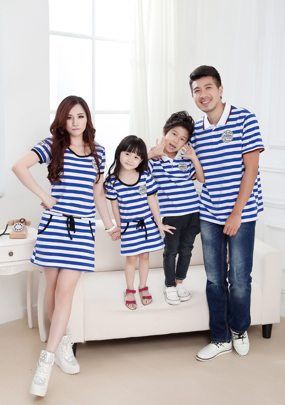 3397a44e family matching suits parent & kids clothing striped sailor clothing father  mother daughter and son clothes tees and dress