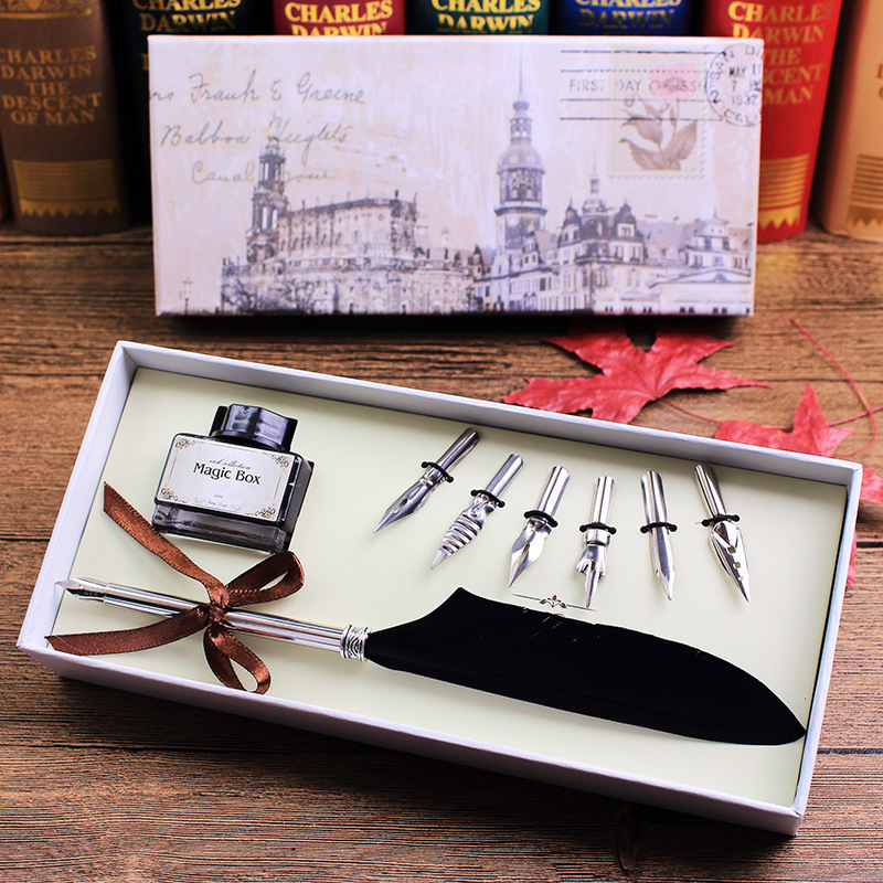 Harry Potter European Sheath Christmas Advertisement Feather Hair Dip Gift School with pen 0.7mm Writing yestar hair 1 5clips dip 5clips 110g 60 16colors gh013