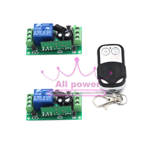 Home Automation 125-250V 1CH RF Gate Garage Door 2 Receivers and 1 Transmitter Wireless Remote Control Switch System