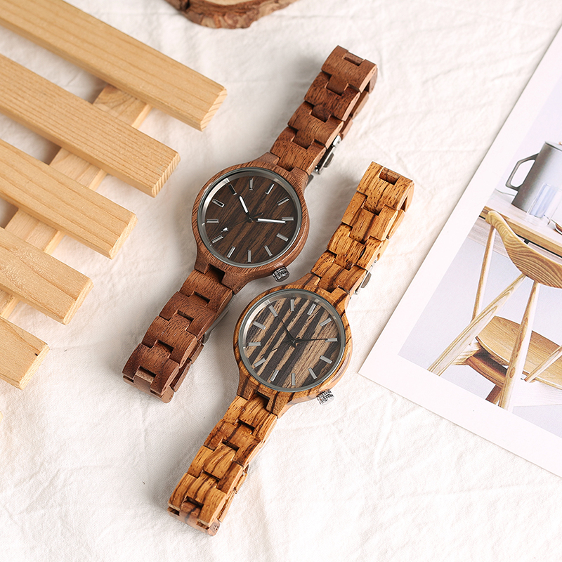 Creative Full Wooden Women Watches Klassisk Håndlavet Bangle Bamboo - Dameure - Foto 5