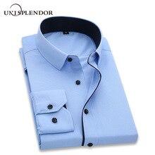 ce5a1981134b unisplendor Men Dress Shirts 2019 New Man Fashion Long Sleeve Slim Fit High  Quality Solid Casual