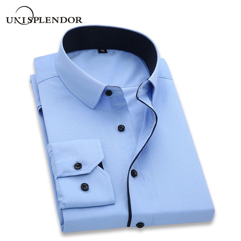 Unisplendor camisas de vestido masculino 2020 novo homem moda manga longa fino ajuste de alta qualidade sólida casual camisa do homem de negócios 4xl yn630