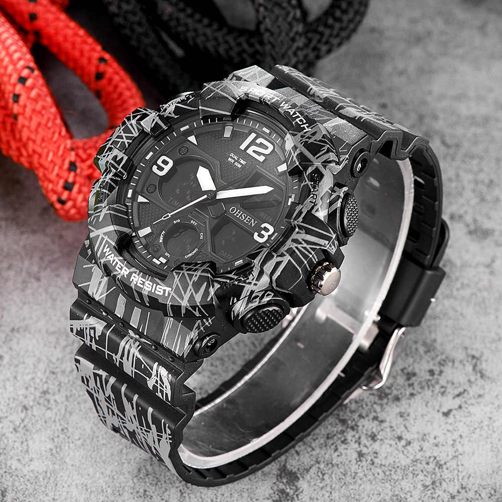 NEW OHSEN Fashion Quartz Digital Watch Men LED Analog Man Army Wristwatches Camouflage Rubber Band Swim Sport Watch Relogios