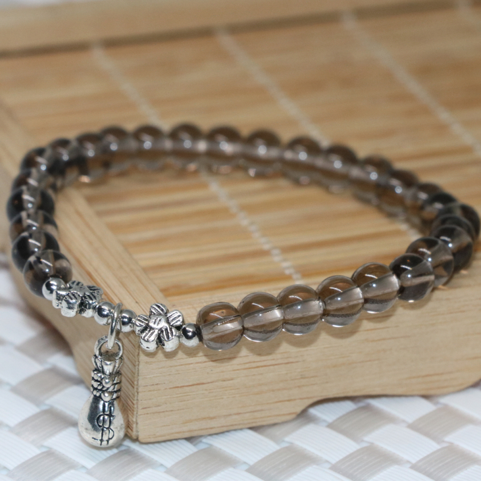 Unique designgray electroplate crystal round beads strand bracelets for women 6mm jewelry making 7.5inch B2106