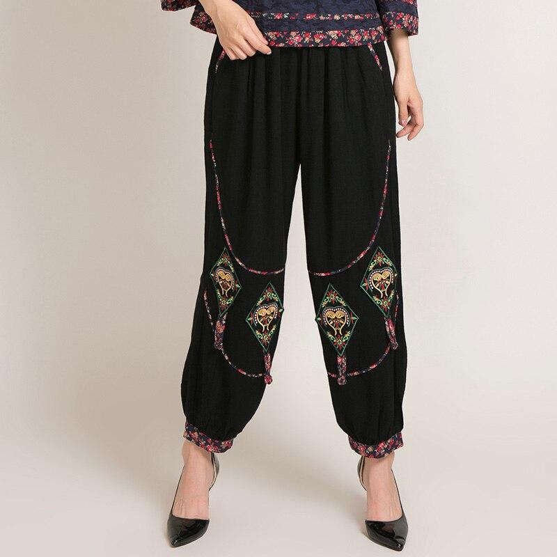 Han Zitong 2018 Новые весенние и осенние ретро народный стиль брюки девять очков вышитые фонари брюки свободные талии брюки