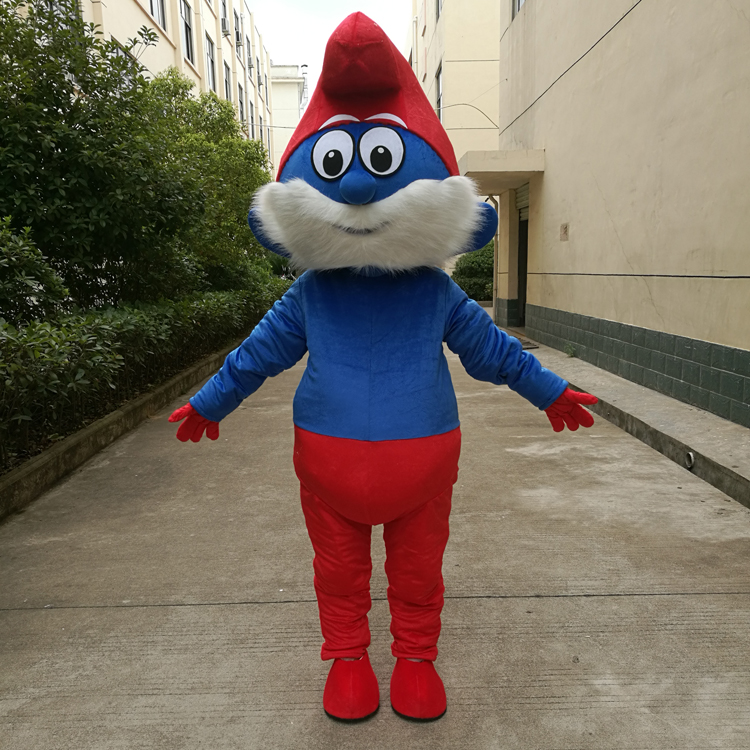 Costume de fête de noël bleu elfes mascotte Costume adulte taille Mascotas mascotte de bande dessinée